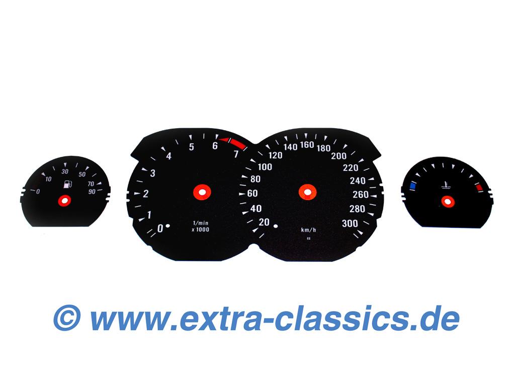 Tachoscheiben 850i CSI Design für den 8er BMW E31 mit Skala bis 300km/h