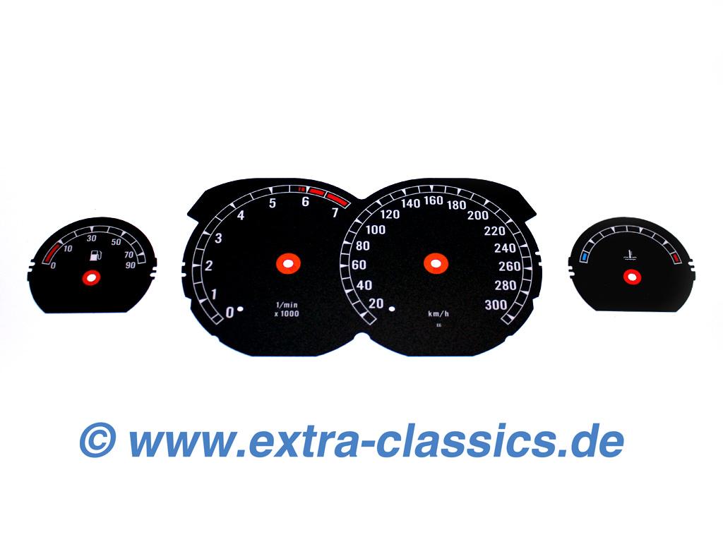 Tachoscheiben 850i Design für den 8er BMW E31 mit Skala bis 300km/h